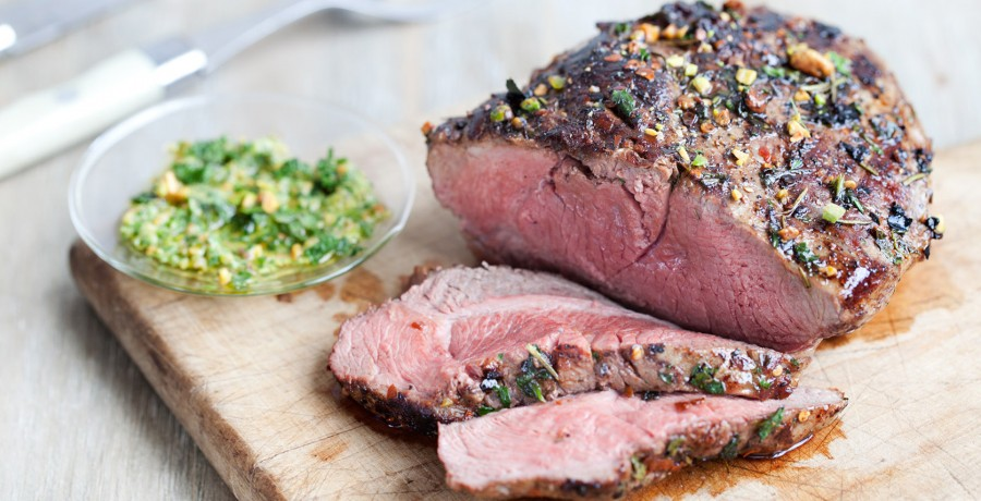 Grilled Butterflied American Lamb Leg with Mint-Pistachio Pesto