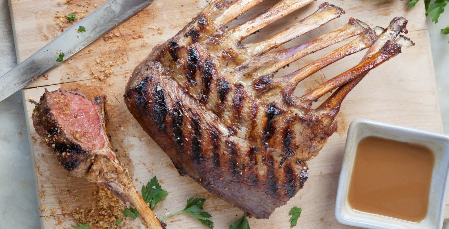 Grilled Rack of American Lamb with Dijon-Balsamic Glaze