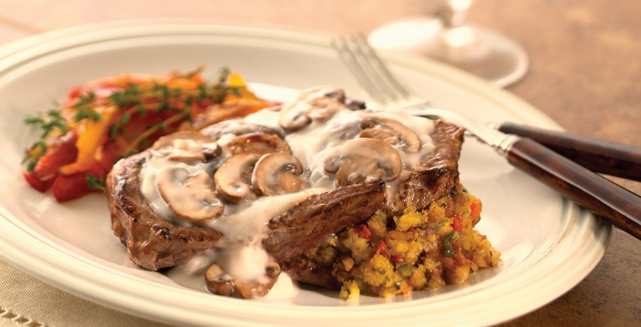 Stuffed American Lamb Shoulder Chops with Fresh Mushroom Sauce