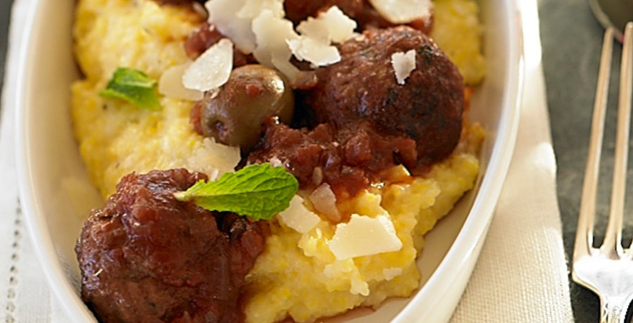 Tomato and Olive-Braised American Lamb Meatballs with Soft Polenta